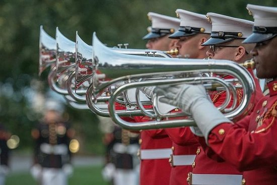 U.S. Marines Sunset Parade: Marine Drum and Bugle Corps with Silent Drill Team