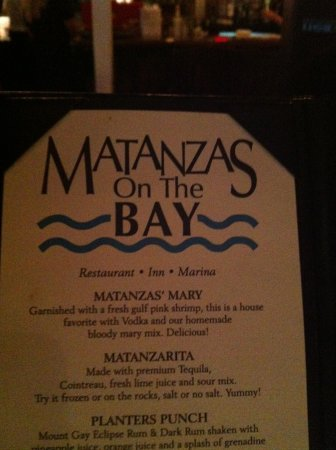 Matanzas on the Bay: On the table