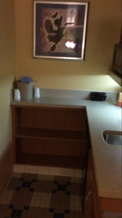 Disney's All-Star Music Resort: Kitchenette with coffee maker, microwave, & mini fridge. They supply the specific coffee packs;