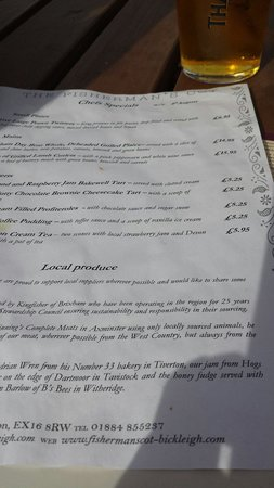 The Fisherman's Cot: Extra menu