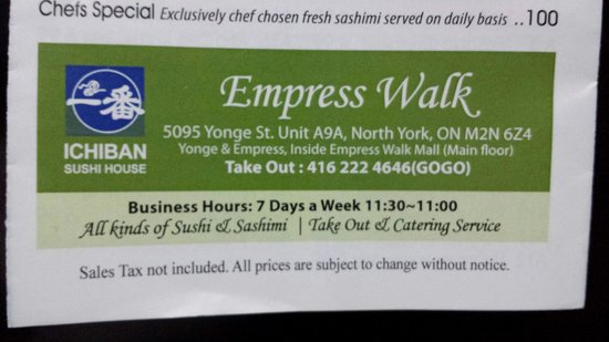 Empress Walk or Ichiban Sushi House???