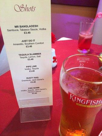 Empress of India: Shots menu.