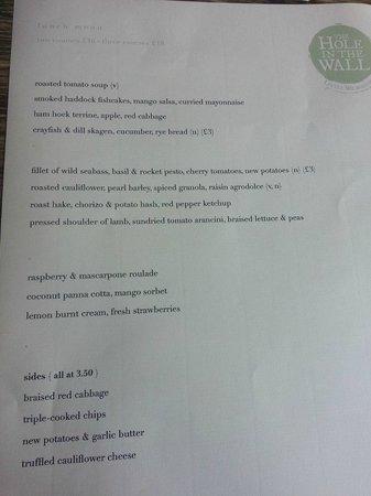 Hole in the Wall: the menu