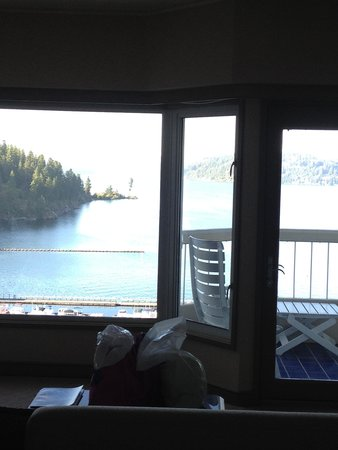 The Coeur d'Alene Resort: view out our room..pic does not do it justice