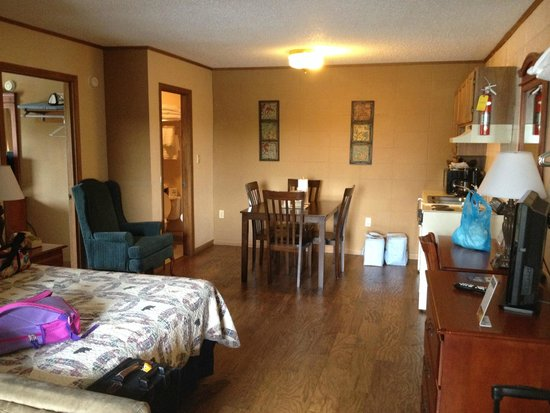 Mountain Breeze Motel: Main Room - has sofa sleeper, queen bed and kitchenette