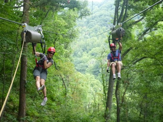 Navitat Canopy Adventures - Asheville Zipline: Waiting to be pulled in