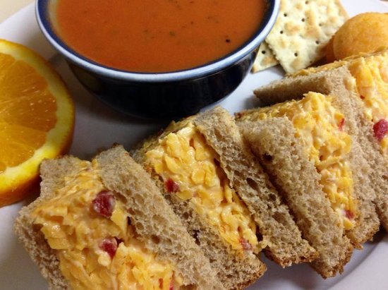 The Courtyard Restaurant: Pimento Cheese and Tomato Basil Soup