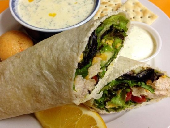 The Courtyard Restaurant: Veggie wrap with grilled chicken and potato soup
