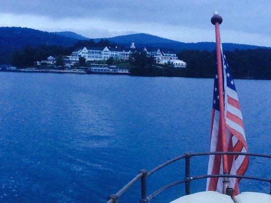 Sagamore Hotel before sunrise on Lake George