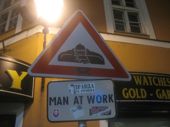 Bratislava Old Town: man at work