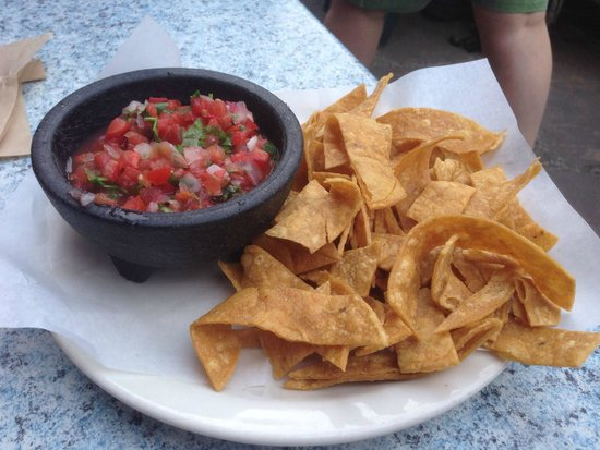 Picante: Corn tortilla chips and Salsa with Tomato, Onion, and Serrano Chile, and Cilantro