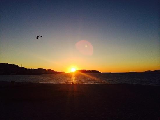 Camping Bayona Playa: puesta de sol de Ibiza? no Baiona