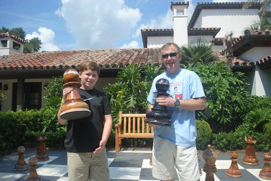 The Cloister at Sea Island: Playing chess outside!
