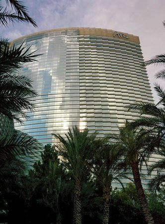 ARIA Resort & Casino: Back view of hotel from pool area