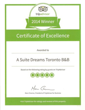 A Suite Dreams Toronto B&B: Certificate of Excellence 2014