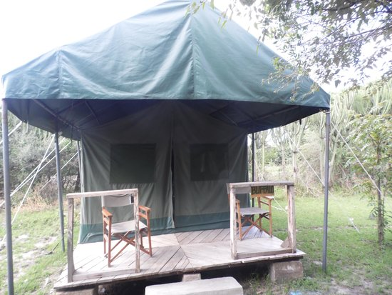 Enchoro Wildlife Camp : our tent. too dark and small inside to get a good photo, but had 3 beds, shower, sink and toilet