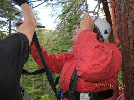 Alaska Zipline Adventures: The Wife - Having Fun!