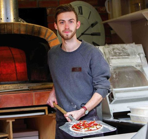 BASE Woodfired Pizza: Chris and pizza