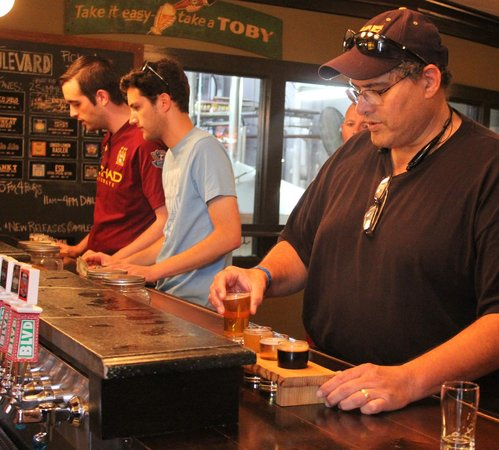 Boulevard Brewing Company : Pedro selecting the four we will try