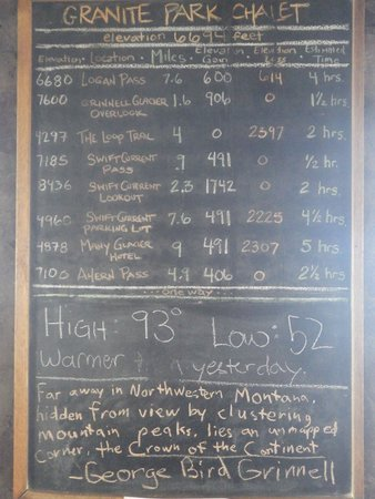 Granite Park Chalet: Chalkboard