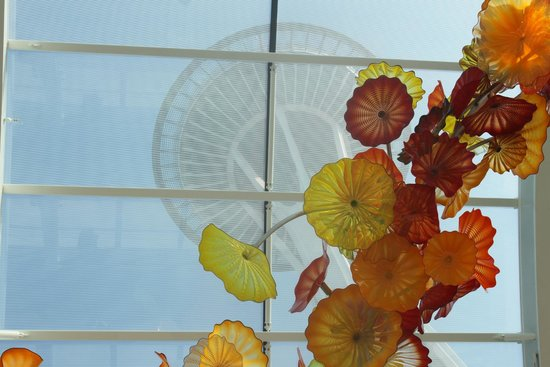 Chihuly Garden and Glass: View of Space Needle from inside the garden house