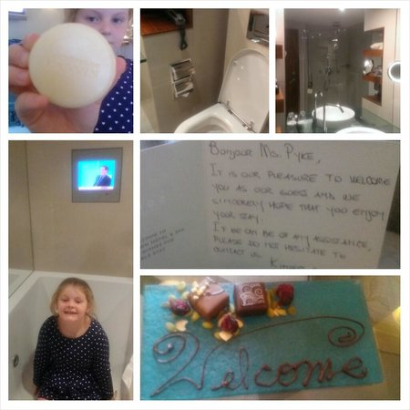 Sofitel Queenstown Hotel & Spa : Welcome note and chocolates and spa bath with TV