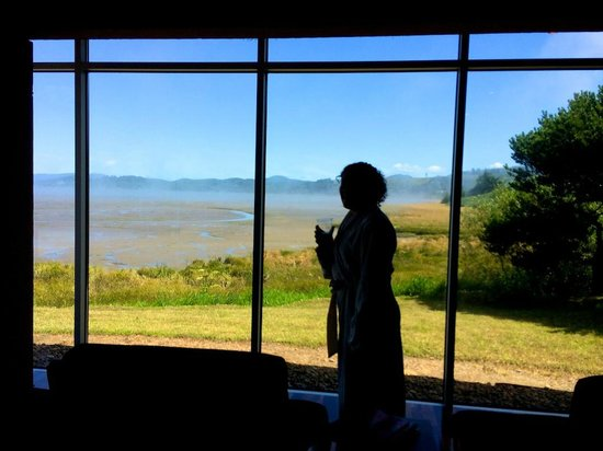 Salishan Spa and Golf Resort: View from the spa chairs out over the water (tides out)