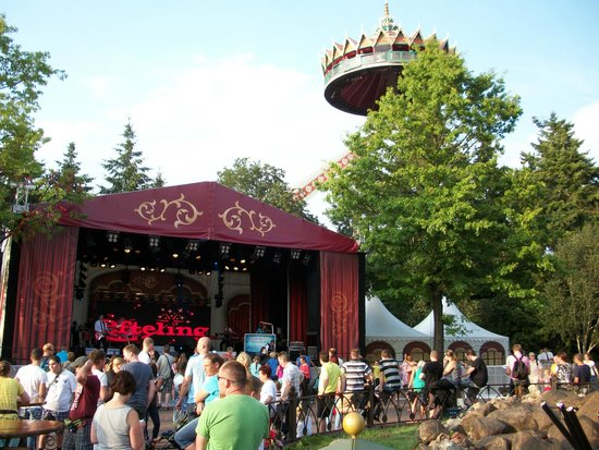 "Efteling: Flying high above the parc, with the Asian theme ""Flying Pagoda Tempel""."