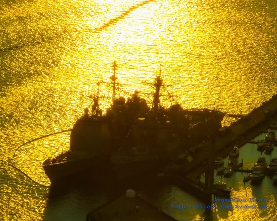 Sky View Observatory: Two ships of Seafair Fleet Week in the sunset