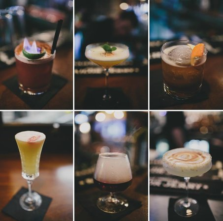 The Exchequer: Six different drinks we tried...all of them INCREDIBLE.