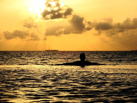 Olhuveli Beach & Spa Resort : sunset at the infinity pool