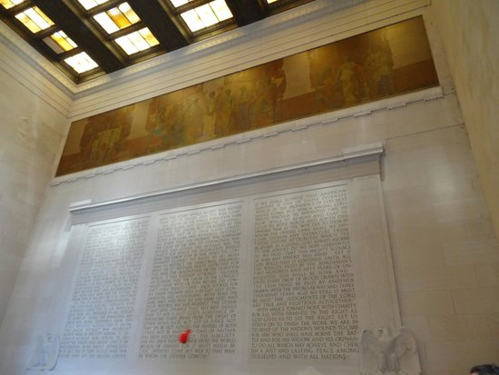 The inside of the Lincoln Memorial