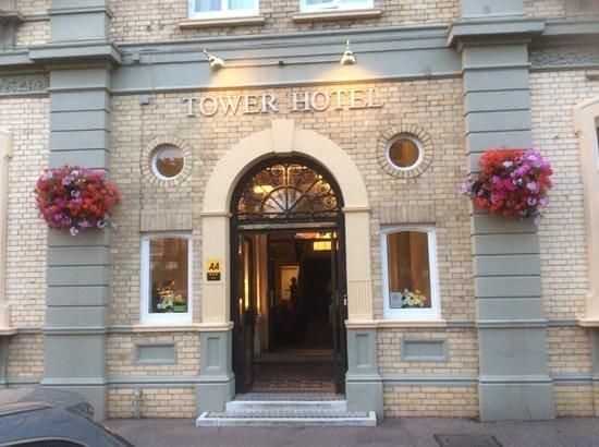 The Tower Hotel: Front door closeup