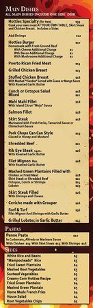 Hotties Bar & Restaurant: this is our new menu, from August 2014