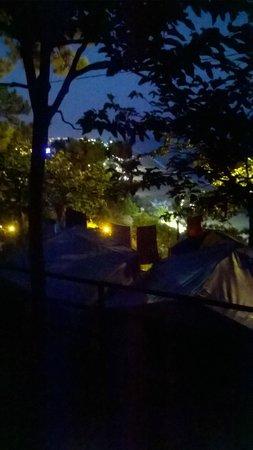 Camping el Far: Calella vue emplacement camping (tente)