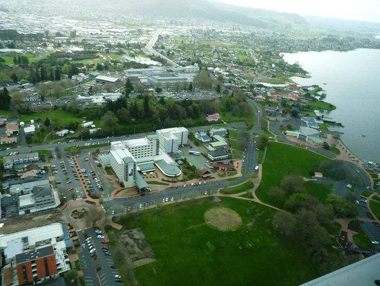 Novotel Rotorua Lakeside: Hotel View from sea plane
