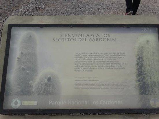 Parque Nacional Los Cardones: Letrero Cardonal