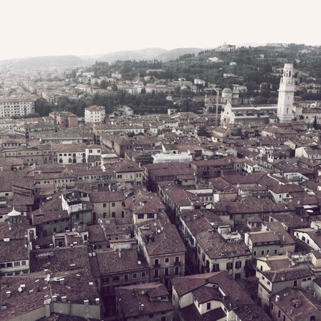 Torre dei Lamberti: View from the top across the city towards the Duomo and beyond to Borgo Trento