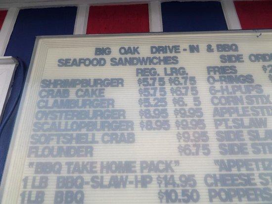 Big Oak Drive In & BBQ: Regular Shrimp Burger is $5.75. At El's they are $3.25.