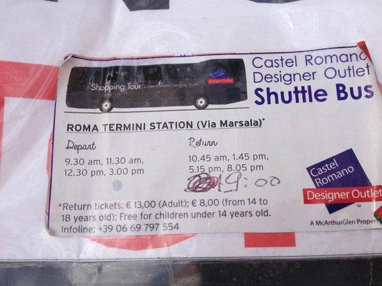 Castel Romano Designer Outlet: Bus timetable Termini - Castel Romano