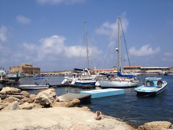 Paphos Harbour Castle : Boats in Paphos harbour with castle in background.