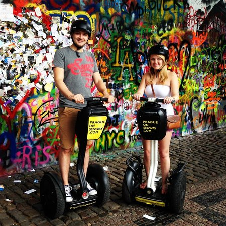 Prague On Segway, on E-Scooter, on Quad : John Lennon wall on the Segways