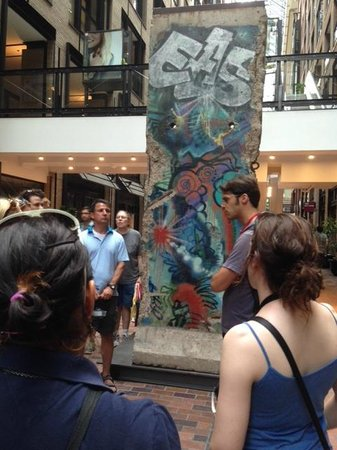 Free Old Montreal Tours: A Berlin Wall installation (gift from Germany) in the Underground City