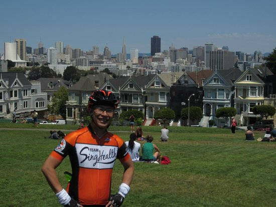 Streets of San Francisco Bike Tours : At Alamo Square with the Painted Ladies