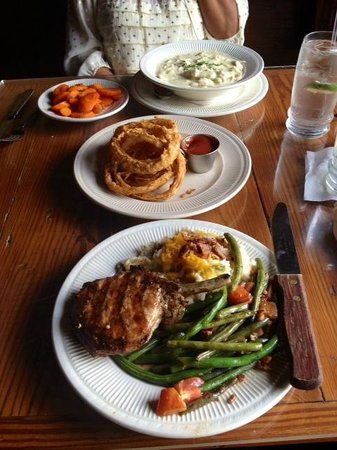 Wildfire: chicken and dumplings, onion rings, pork chop with mashed potatoes and green beans