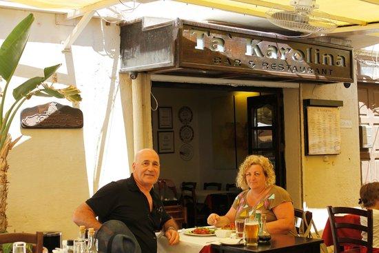 Enjoying the meal at Ta' Karolina, Xlendi, Gozo