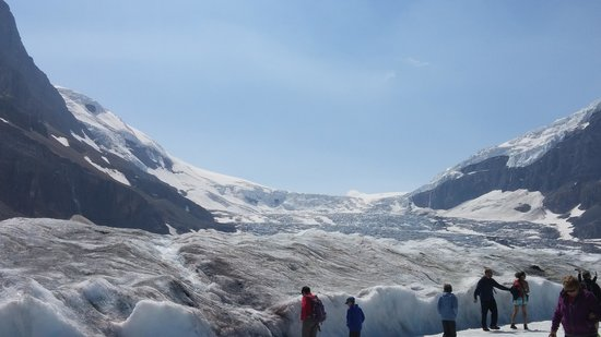Columbia Ice Field : A cravass tempts tourists at the Columbia Icefields.