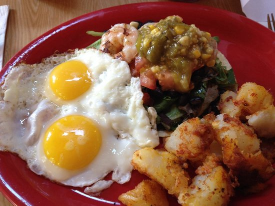 The Sunrise Shack: Special shrimp tostada with greens, tomatillo , black beans & eggs