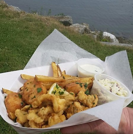 Duo's Fish 'N' Chips Takeout: Duo's Basket with Fried Whole-Belly Clams & Scallops.