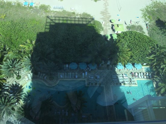 Marriott's Oceana Palms: View of the pool area from our room (18th floor, oceanfront, about 5pm)